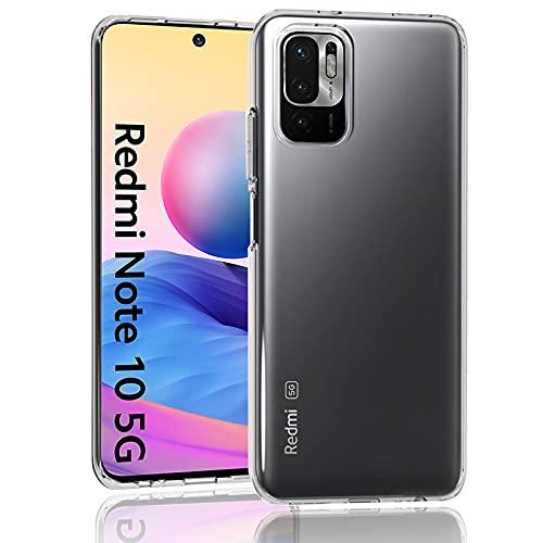 Kiewhay Handyhülle Kompatibel mit Xiaomi Redmi Note 10 5G/ Poco M3 Pro 5G Hülle 6,5'', [Anti-Gelb] [Ultra Slim] [Kristallklar] [Fallschutz] Weiche Silikon TPU Schutzhülle - Transparent