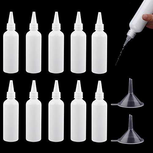10 Pcs Plastic Squeeze Bottles 100ml Small Squeeze Condiment Bottles Dispensing Bottles Plastic Squeezable Liquid Dropper Bottles Travel Empty Bottle Containers with 2Pcs Funnels for Sauce Lotion