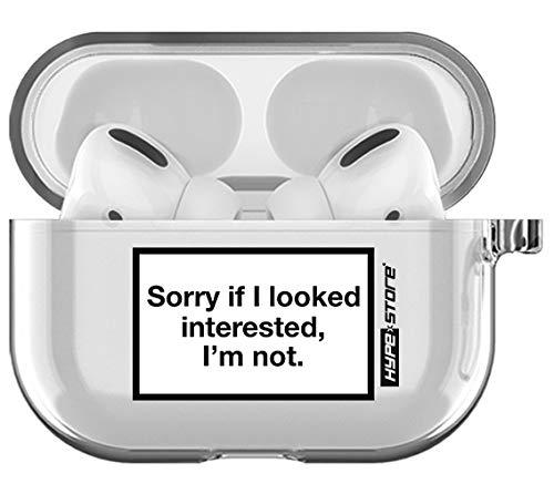 HYPExSTORE® Apple AIRPODS PRO compatibel hoesje Sorry if I Look geïnterested Im not hanger cover beschermhoes op transparant helder kristal