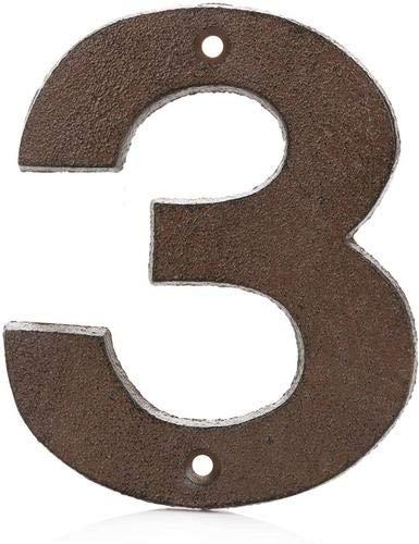 Números para Casas de Hierro Fundido 0-9 (3, Marrón)