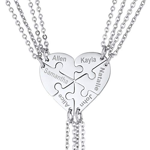 U7 Best Friend Necklaces for 6 BFF Friendship Jewelry Stainless Steel 6 Split Heart Pendant Customized Name Necklaces Set