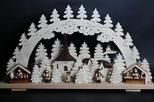 Verlichte kaarsboog kerstmarkt met Seiffener kerk grootte = 60x33cm NIEUW Ertsgebergte lichtboog lichtboog