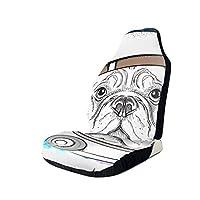車用シートカバー 宇宙飛行士の宇宙服を着た漫画の犬。スペースの文字が おしゃれ かわいい マルチカラー 軽自動車 普通車 フロント座席適用 1PS
