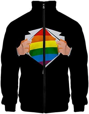 3D LGBT Unisex Harajuku lange mouwen Rits Hoodie Jas 9 XS