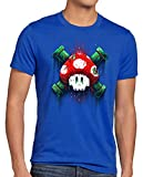 style3 Mario Calavera Camiseta para Hombre T-Shirt Videojuego Switch Super World, Talla:L, Color:Azul