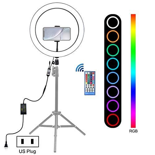 12 Pulgadas RGB LED Regulable Anillo Vlogging Selfie Fotografía Vídeo de Disparo con el Zapato Frígida trípode Ball Head & Teléfono Abrazadera (Enchufe de EE.UU.),sunsunshh (Color : US Plug)