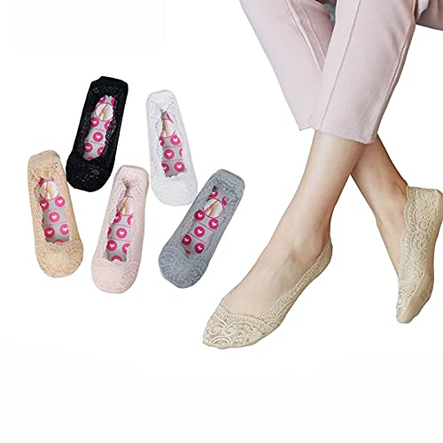 5 Paar Damen Spitzen No Show Socken Low Cut, Low Cut Liner, Unsichtbar Mit Flats, Slip Für High Heels Flats Frauen Dünne Rutschfeste Unsichtbare Footie Socken