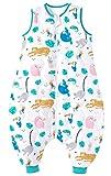 Chilsuessy Saco de dormir para bebé con pies, 2,5 tog, para todo el año, sin mangas, con piernas, para bebés, parque de animales, 100 cm, altura del bebé 110-120 cm