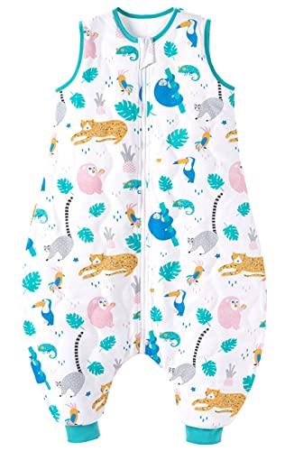 Chilsuessy Baby Schlafsack mit Füße 2.5 Tog Ganzjahres Schlafsack Baby Schlafsäcke ohne Ärmeln Babyschlafsack mit Beinen für Säugling Kinder, Tierpark, 70cm/Baby Höhe 80-90cm