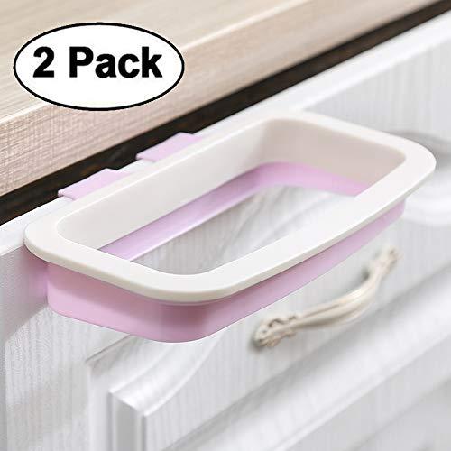 IRONHILL Pack of 2 Trash Bag Holder for Kitchen Cupboard, Kitchen Plastic Bag Trash Bin Garbage Bags Storage Rack,RV Garbage Bag Hanger, Space Saving Garbage Hook, Kitchen Organize (Pink&White)
