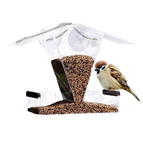 SinceY Vogelhuisje, outdoor vogelhuisje, acryl, ontharing, anti-sprinkler, automatische voering, vogelvoerbox
