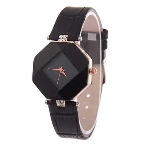 MDYH PTTCC AYSMG Gem Cut Geometry Crystal Leather Cuarzo Reloj de Pulsera de Moda for Damas (Rojo) (Color : Black)