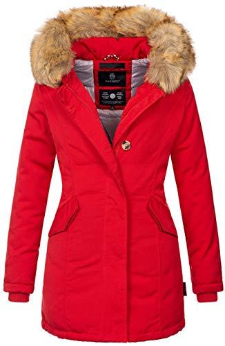 Marikoo Damen Winter Jacke Parka Mantel Winterjacke warm gefüttert B362 [B362-Karmaa-Rot-Gr.XS]