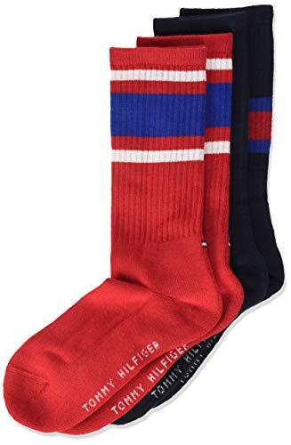 Tommy Hilfiger Jungen TH KIDS FLAG 2P Socken, Mehrfarbig (Midnight Blue 563), 39-42 (2er Pack)