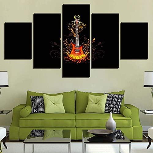 Living Equipment Impresión en lienzo Imagen de arte de pared para decoración del hogar Instrumento de llama Guitarra 5 piezas Pinturas Sala de estar moderna Oficina Obra de arte estirada y enm