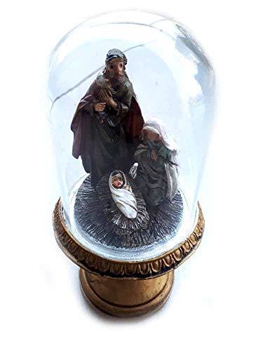 Generisch erhalten Sie 3 Stück Krippe komplett aus Glocke aus Glas Art. 3 Höhe 11 cm Gesamthöhe 18 cm Nativita\' Harz Maria Josppe gesu\' Figuren Krippenfiguren glänzend