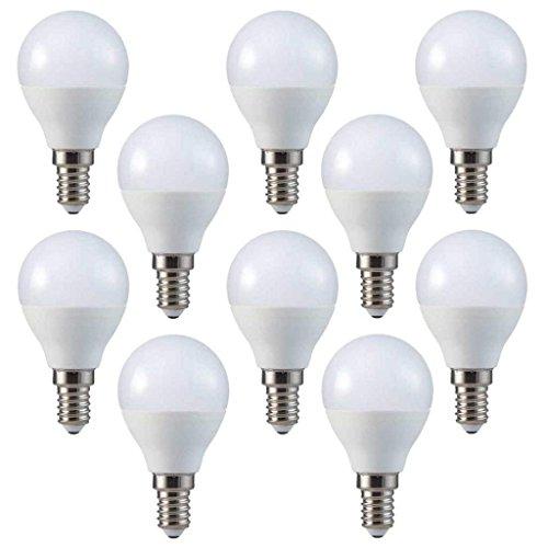 V-TAC LED 3 W P45 de pelota de Golf Bombillas - 10 unidades - E14/SES/rosca pequeña tipo Edison - Color blanco frío 6400 K/250 lúmenes/plástico acabado