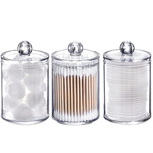 Tbestmax 3 Pack Cotton Swab Ball Pad Holder, 10 Oz Qtip Apothecary Jar Clear Makeup Organizer, Bathroom Containers Dispenser