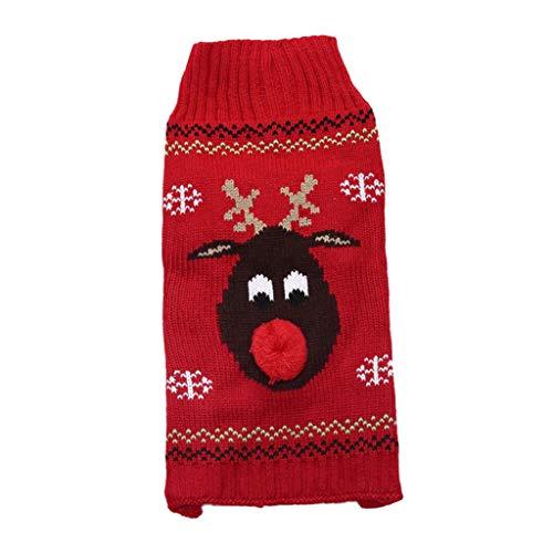 Baoblaze Weihnachten Hundepullover Hundepulli Strickpullover Winter Warm Pullover für Hunde und Welpen - Rot Hirsch, S