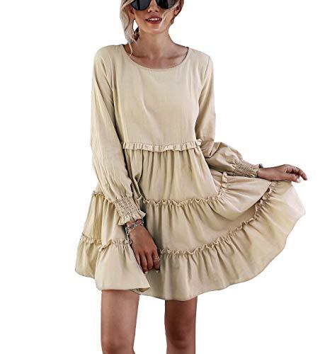 Geagodelia Vestito Donna Stile Elegante e Casual Abito a Maniche Lunghe Autunnale e Invernale S-XL (Cachi, L)