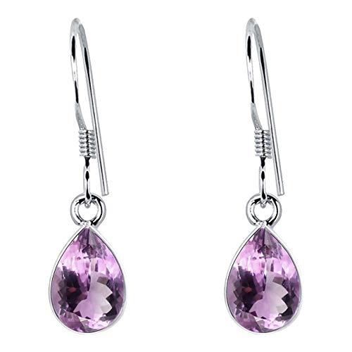 2.32 Ctw Pear Purple Amethyst 925 Sterling Silver Birthday Gifts Dangle Earrings For Women By Orchid Jewelry