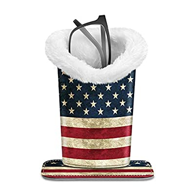 Fintie Plush Lined Eyeglasses Holder with Magnetic Base- PU LeatherGlasses Stand Case (ZA-US Flag) by Fintie