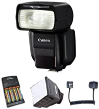 Canon Speedlite 430EX III-RT, Guide Number 141' at ISO 100, - Bundle with 4 AA Ni-MH Batteries with Charger, Mini SoftBox Diffuser, Flashpoint TTL-Off Camera Flash Cord for Canon EOS 3'