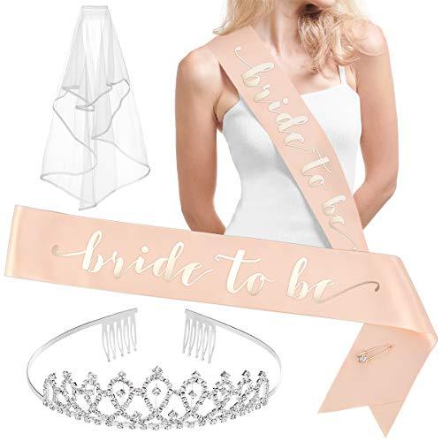 xo, Fetti Rose Gold Pink Bachelorette Party Decorations Kit - Bridal Shower Supplies | Bride to Be Sash, Rhinestone Tiara, Pre-Strung Banner, Veil + Bride Tribe Tattoos