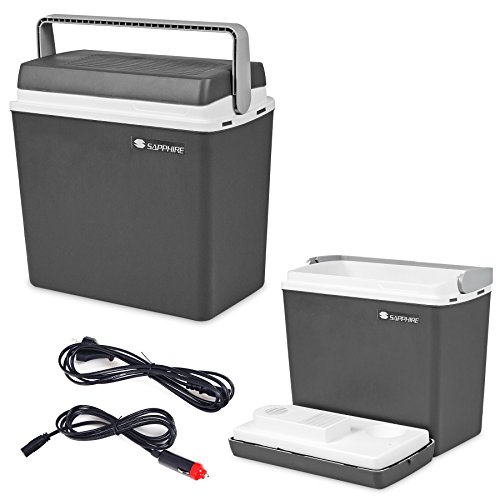 Kühlbox, Kühltasche, Campingkühlbox, Autokühlbox, 12V/230V, tragbar, Fassungsvermögen 25 Liter Sapphire SG-01 Korkenzieher Gratis (Grau)