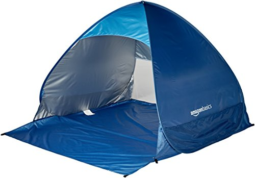 AmazonBasics Pop-up Beach Tent Sun Shade Shelter - 65 x 58.9 x 43.5 Inches, Blue