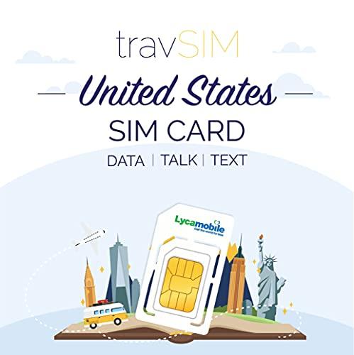 travSIM USA SIM Karte (Lycamobile SIM Karte) Gültig für 30 Tage - 2GB 3G 4G LTE Mobile Daten - Vereinigte Staaten Lycamobile US SIM Karte (Unbegrenzte USA & Internationale Anrufe & Texte)