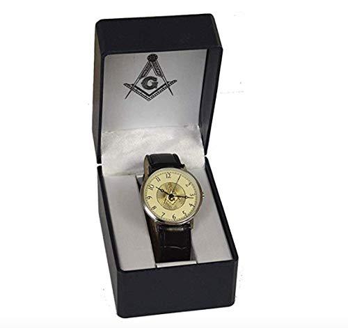 Freimaurer-Uhr, Leder, frei und akzeptiert, PHA 357 Master Mason Prince Hall
