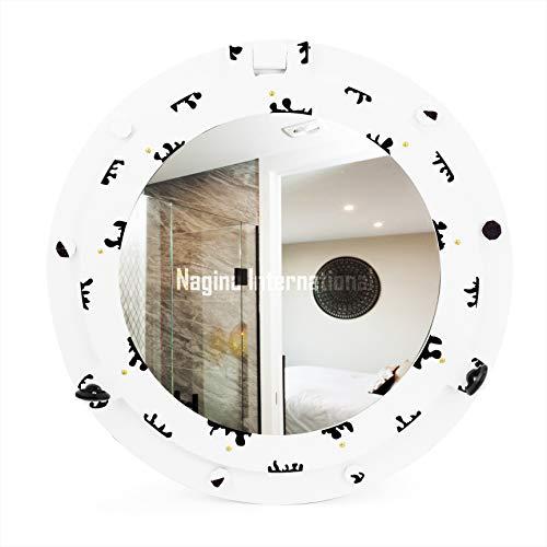 Nagina International Décoration Murale Nautique Miroir hublot Artisanal en Bois   Décor de Bateau de Pirate (24 Pouces, Blanc-Noir)
