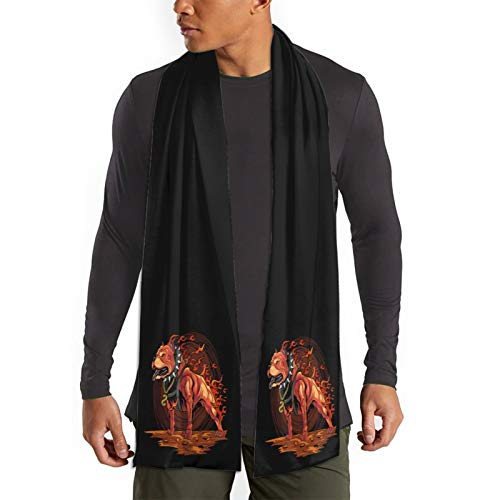 Pitbull Dog With Fire Design Warm Winter Scarf - Fashion Soft Scarves For Women And Men