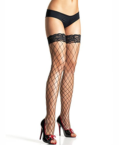 Leg Avenue 9037 Women's Fence Net Thigh High Stockings With Lace Top - One Size - Black