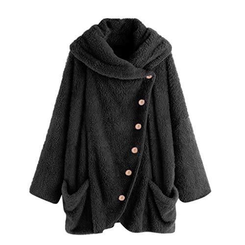Vrouwen Button Coat=Dames Lange Mouw Effen Kleur Knop Fluffy Tops=Casual Hooded Losse Trui Trui Maat 12-26