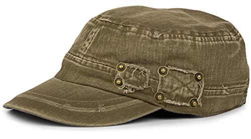 styleBREAKER Berretto Militare dal Look Washed, Used, Vintage, Regolabile, Unisex 04023011, Colore:Oliva-Marrone