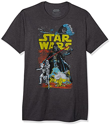 STAR WARS Men's Rebel Classic Graphic T-Shirt, Charcoal Heather, Large