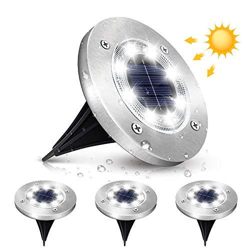 Elfeland Solar Bodenleuchten, 8 LEDs 6000K Außenleuchten, IP65 Wasserdicht Gartenleuchten Weißlicht Edelstahl Solarleuchten für außen, Garten, Terrasse, Rasen, Hof, Gehweg 4 Stück Solarlampen