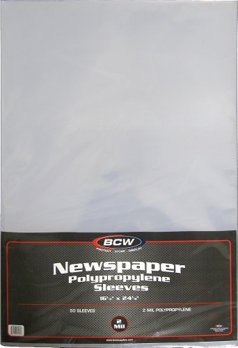 BCW Newspaper 2-mil Polypropylene Sleeves 16 X 24 | 50-Sleeves per pack | 1-Pack