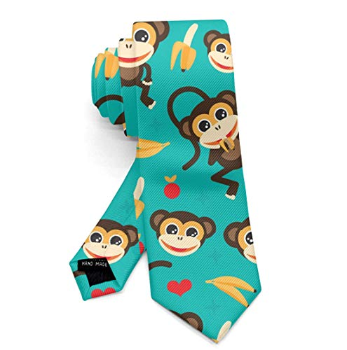 Funny Mens Monkey Love Banana Solid Necktie for Office Business Meeting, Durable Skin-Friendly Tie