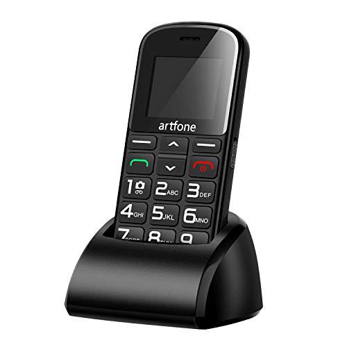 artfone Seniorenhandy   Dual SIM Handy mit Notruftaste   Rentner Handy große Tasten   2G GSM Handy   Großtastenhandy mit Ladestation & Kamera 1400 mAh Akku Lange Standby-Zeit (Inklusive Ladegerät)