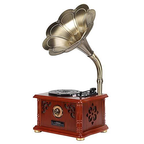 QRY レトロビニールレコードアンティーク蓄音機のトランペットマシン木製ボックス三角アルミ管運動ルビーピックアップ機能PH/INT/BTのBluetoothステレオ蓄音機レコードプレーヤー、ポータブルオーディオの外観を 幸せな生活