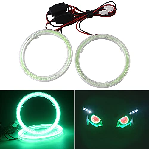 Qasim 80MM Green 63SMD Car Angel Eyes COB LED Halo Ring Lamp Headlight With Cover 12V 24V-1Pair