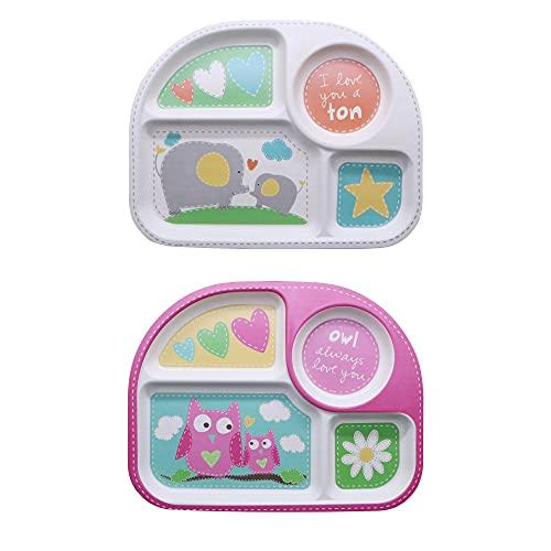 EULANT Platos Compartimento para Bebé, 2pcs Cuberteria Infantiles Bambu, Set de Vajilla Infantil Seguro Degradables Materiales Sin BPA, Búho + Elefante