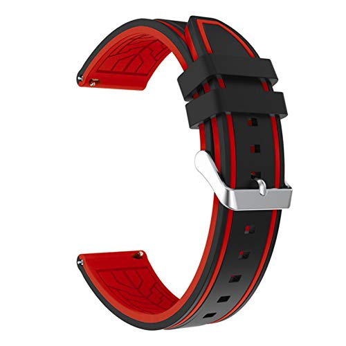 LRJBFC Silicona Soft Sport Wamkband 20mm 22mm 24mm 26mm Buceo de Goma Hombres Impermeables Reemplazo Pulsera Banda Correa Reloj Accesorios (Band Color : Black Red 02, Band Width : 26mm)