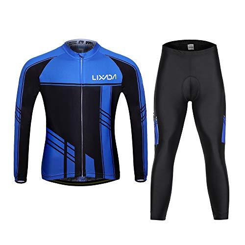 Lixada Set Abbigliamento da Ciclismo da Uomo/Maniche Lunghe Autunno Inverno + Giacca da Ciclista in Maglia Antivento + Pantaloni Imbottiti 3D