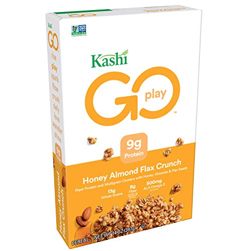 Kashi GO Honey Almond Flax Crunch Breakfast Cereal - Non-GMO | Vegetarian | 14 Oz Box