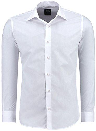 Jeel Herren-Hemd Langarm - Slim-Fit - Business Freizeit Hochzeit - Bügelleicht - Weiß XL