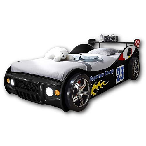 ENERGY Autobett mit LED-Beleuchtung 90 x 200 cm - Aufregendes Auto Kinderbett für kleine Rennfahrer in Schwarz - 105 x 60 x 225 cm (B/H/T)